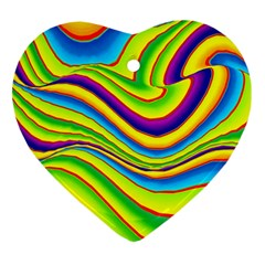 Summer Wave Colors Heart Ornament (two Sides) by designworld65