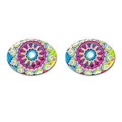 Sunshine Feeling Mandala Cufflinks (oval) by designworld65