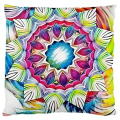 Sunshine Feeling Mandala Large Cushion Case (two Sides) by designworld65