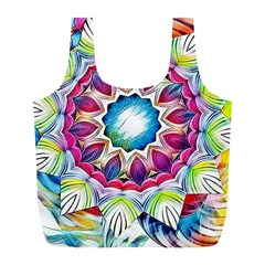 Sunshine Feeling Mandala Full Print Recycle Bags (l)