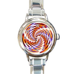 Woven Colorful Waves Round Italian Charm Watch