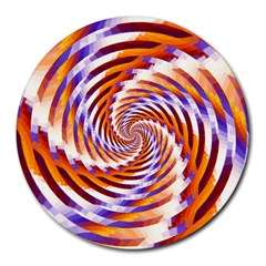 Woven Colorful Waves Round Mousepads