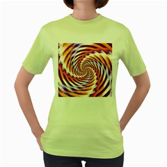 Woven Colorful Waves Women s Green T-Shirt
