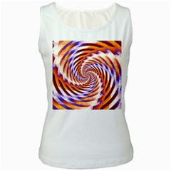 Woven Colorful Waves Women s White Tank Top