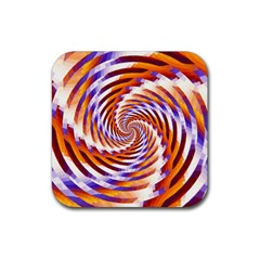 Woven Colorful Waves Rubber Coaster (square)  by designworld65