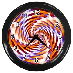 Woven Colorful Waves Wall Clocks (Black)