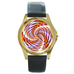Woven Colorful Waves Round Gold Metal Watch