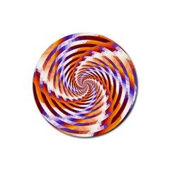 Woven Colorful Waves Rubber Round Coaster (4 Pack)  by designworld65