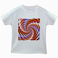 Woven Colorful Waves Kids White T-Shirts
