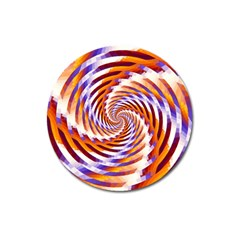 Woven Colorful Waves Magnet 3  (Round)