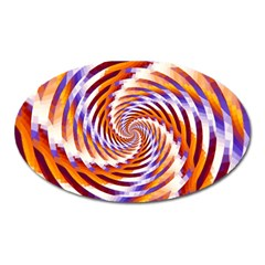 Woven Colorful Waves Oval Magnet