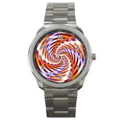 Woven Colorful Waves Sport Metal Watch by designworld65