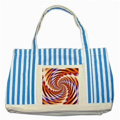 Woven Colorful Waves Striped Blue Tote Bag by designworld65