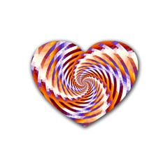 Woven Colorful Waves Rubber Coaster (Heart)