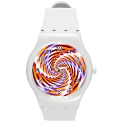 Woven Colorful Waves Round Plastic Sport Watch (M)
