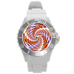 Woven Colorful Waves Round Plastic Sport Watch (L)