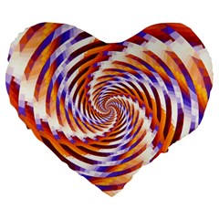 Woven Colorful Waves Large 19  Premium Heart Shape Cushions