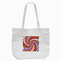Woven Colorful Waves Tote Bag (White)