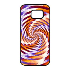 Woven Colorful Waves Samsung Galaxy S7 Edge Black Seamless Case by designworld65