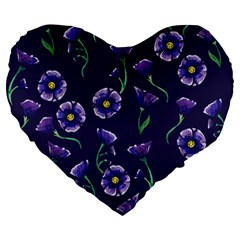 Floral Large 19  Premium Heart Shape Cushions by BubbSnugg