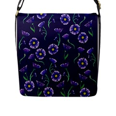 Floral Violet Purple Flap Messenger Bag (l)  by BubbSnugg