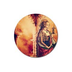 Fantasy Art Painting Magic Woman  Magnet 3  (round) by paulaoliveiradesign