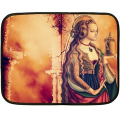 Fantasy Art Painting Magic Woman  Double Sided Fleece Blanket (mini)  by paulaoliveiradesign