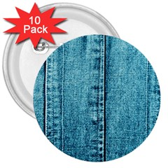 Denim Jeans Fabric Texture 3  Buttons (10 Pack)  by paulaoliveiradesign