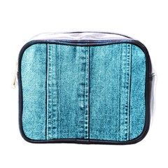Denim Jeans Fabric Texture Mini Toiletries Bags by paulaoliveiradesign