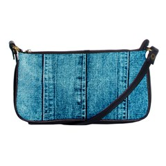 Denim Jeans Fabric Texture Shoulder Clutch Bags by paulaoliveiradesign