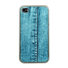 Denim Jeans Fabric Texture Apple Iphone 4 Case (clear) by paulaoliveiradesign