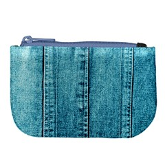 Denim Jeans Fabric Texture Large Coin Purse