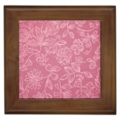 Floral Rose Flower Embroidery Pattern Framed Tiles by paulaoliveiradesign