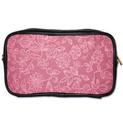 Floral Rose Flower Embroidery Pattern Toiletries Bags 2 Side by paulaoliveiradesign
