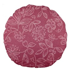 Floral Rose Flower Embroidery Pattern Large 18  Premium Round Cushions by paulaoliveiradesign