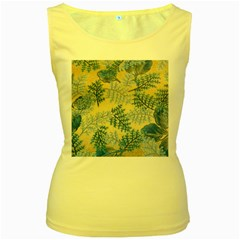 Fabric Embroidery Blue Texture Women s Yellow Tank Top by paulaoliveiradesign