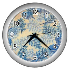 Fabric Embroidery Blue Texture Wall Clocks (silver)  by paulaoliveiradesign