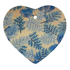 Fabric Embroidery Blue Texture Heart Ornament (two Sides) by paulaoliveiradesign