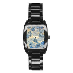 Fabric Embroidery Blue Texture Stainless Steel Barrel Watch by paulaoliveiradesign