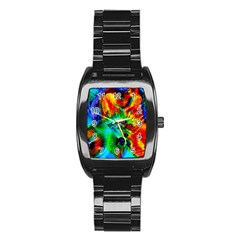 Flowers With Color Kick 2 Stainless Steel Barrel Watch by MoreColorsinLife