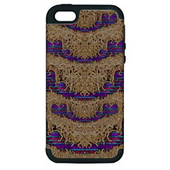 Pearl Lace And Smiles In Peacock Style Apple Iphone 5 Hardshell Case (pc+silicone) by pepitasart