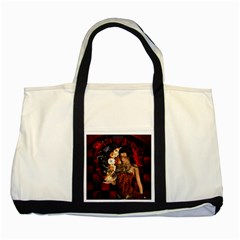 Steampunk, Beautiful Steampunk Lady With Clocks And Gears Two Tone Tote Bag by FantasyWorld7