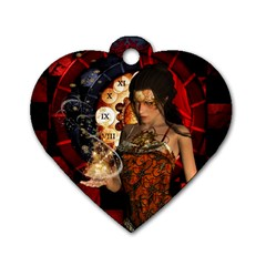 Steampunk, Beautiful Steampunk Lady With Clocks And Gears Dog Tag Heart (two Sides) by FantasyWorld7