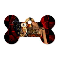 Steampunk, Beautiful Steampunk Lady With Clocks And Gears Dog Tag Bone (two Sides) by FantasyWorld7