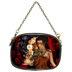 Steampunk, Beautiful Steampunk Lady With Clocks And Gears Chain Purses (one Side)  by FantasyWorld7