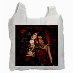 Steampunk, Beautiful Steampunk Lady With Clocks And Gears Recycle Bag (one Side) by FantasyWorld7