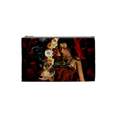 Steampunk, Beautiful Steampunk Lady With Clocks And Gears Cosmetic Bag (small)  by FantasyWorld7