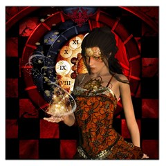 Steampunk, Beautiful Steampunk Lady With Clocks And Gears Large Satin Scarf (square) by FantasyWorld7