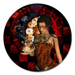 Steampunk, Beautiful Steampunk Lady With Clocks And Gears Magnet 5  (round) by FantasyWorld7