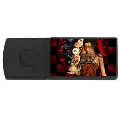 Steampunk, Beautiful Steampunk Lady With Clocks And Gears Rectangular Usb Flash Drive by FantasyWorld7